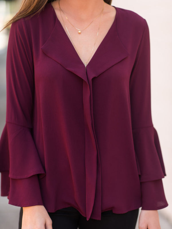 Burgundy Casual Polyester Solid Ruffled Blouses & Shirt