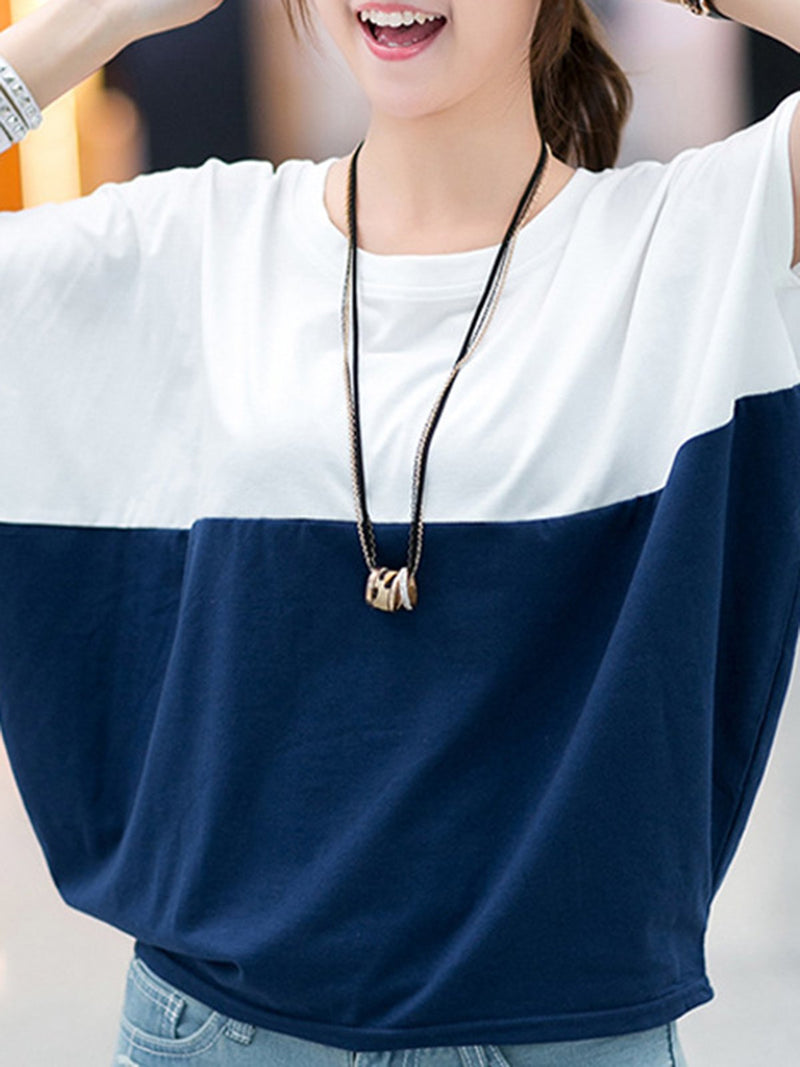 Color-block Casual Crew Neck Plus Size T-Shirt