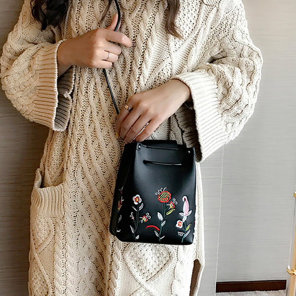 Women's Flower Embroidery Bucket PU Crossbody Bag