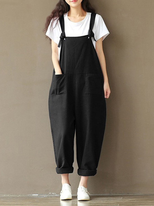 Dark Blue Simple Plain Pockets Cotton Pants