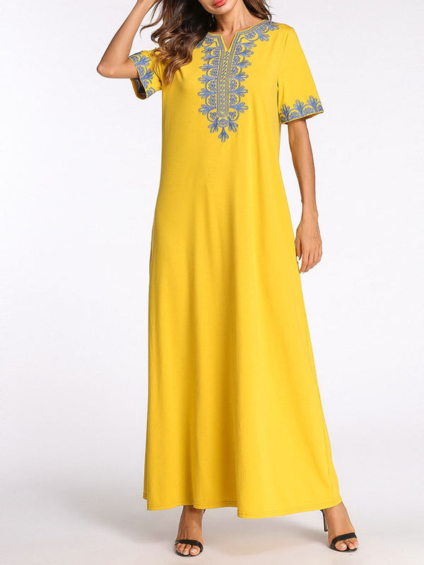 Yellow Cotton A-line Basic Paneled Casual Dress