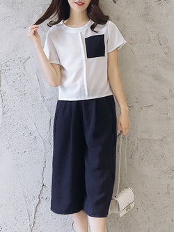 Casual Short Sleeve Crew Neck Two Piece Women's Set