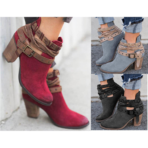 Women Flocking Booties Casual Adjustable Buckle Boots