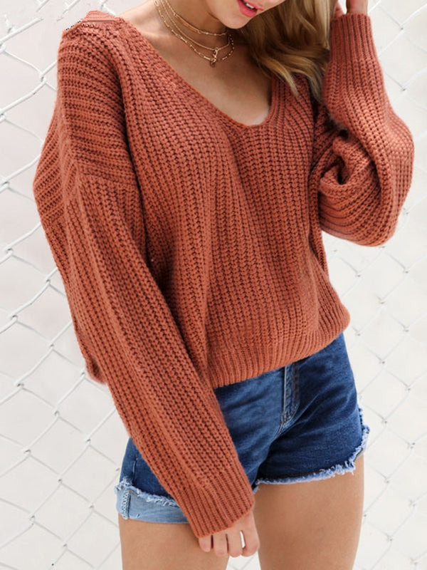 Shift Casual Lace up V-Neck Sweater
