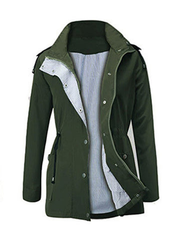 Solid Casual Windproof Hooded Zipper Jacket