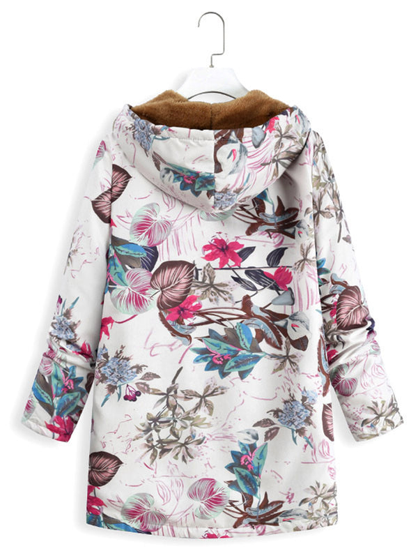 Plus Size Floral Printed Casual Hoodie Coat