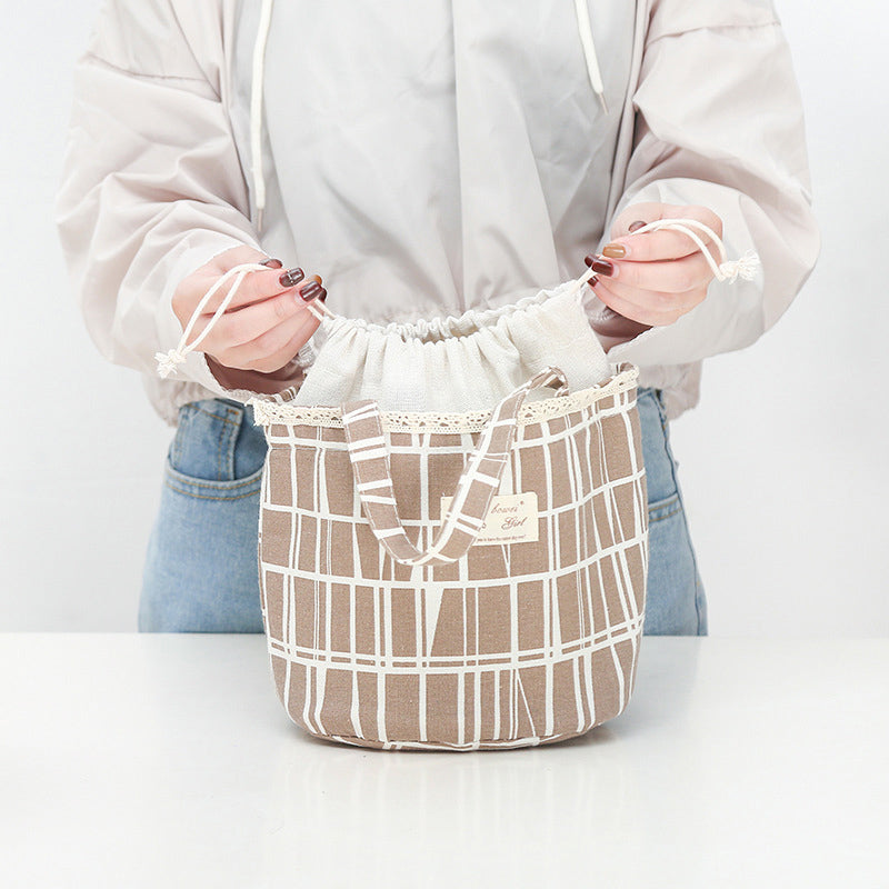 Carton Drawstring Linen Lunch Bags Storage Bags