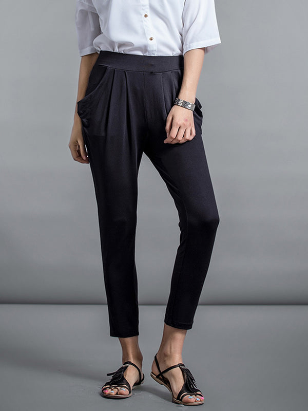 Casual Solid Ruched Harem Plus Size Pant