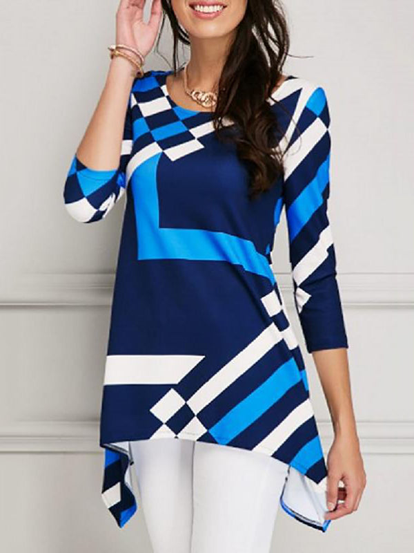 Color-block Crew Neck Casual Tunic