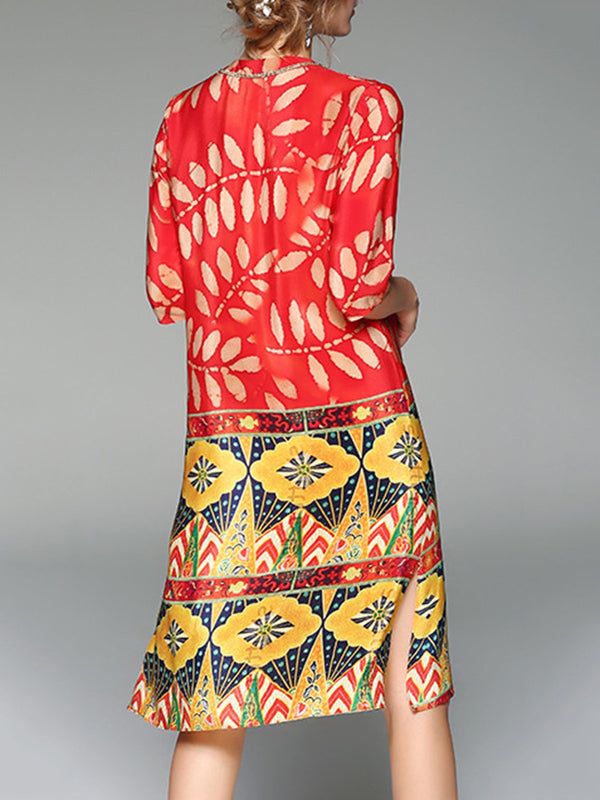 Multicolored V neck Printed Casual Shift Midi Dress