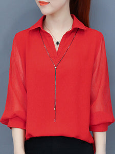 3/4 Sleeve Shirt Collar Paneled Plus Size Blouse