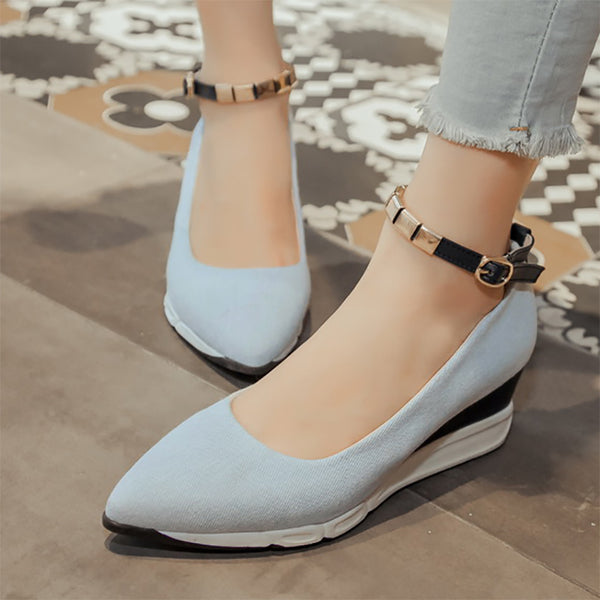 Buckle  Pointed Toe Daily Wedge Heels