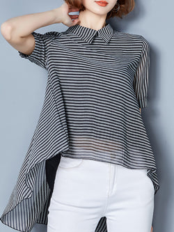 Black Chiffon Asymmetric Striped Blouse Short Sleeve Blouse