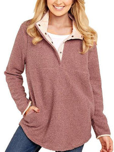 Cotton-Blend Casual Stand Collar Fluffy Sweatshirt