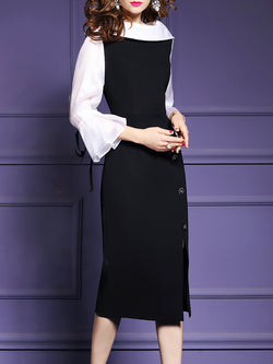 Black Sheath Bell Sleeve Color-block Midi Dress