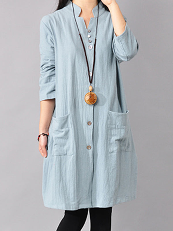 Women Pockets Buttoned Linen A-line Solid Casual Midi Dress
