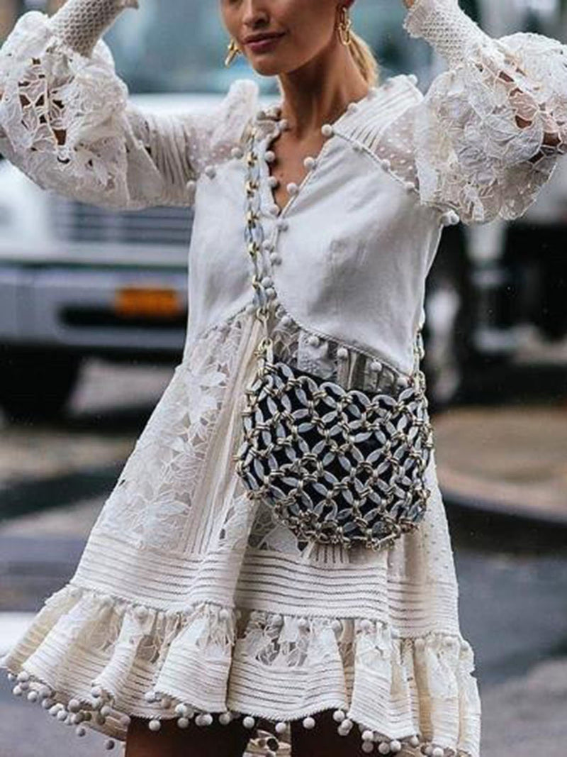 Vintage Tassel Cutout Balloon Sleeve Patchwork Vacation Dresses