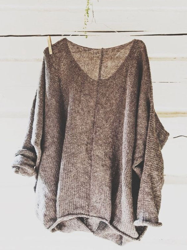 Casual Knitted Long Sleeve V neck Solid Top
