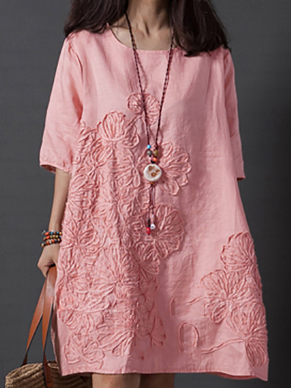 Linen Embroidered A-line Cotton Linen Dress