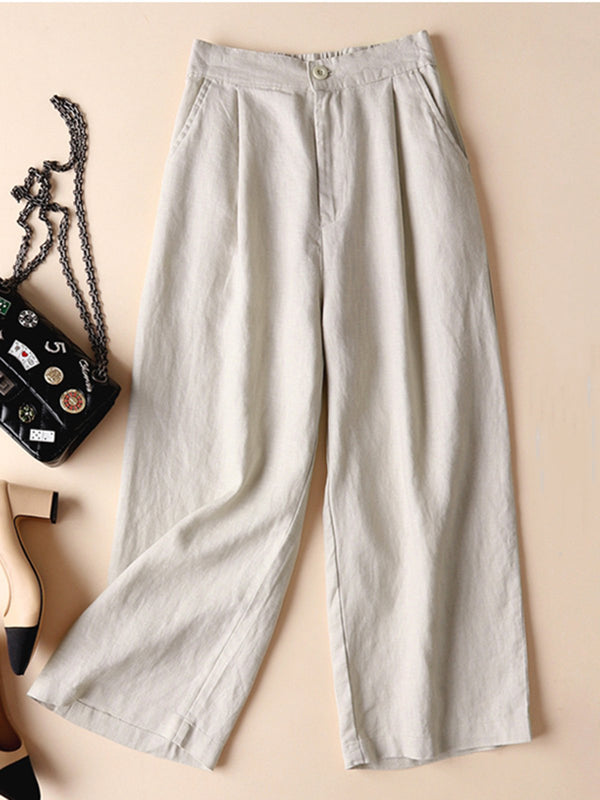 Pockets Solid Casual Folds Cotton Linen Pants