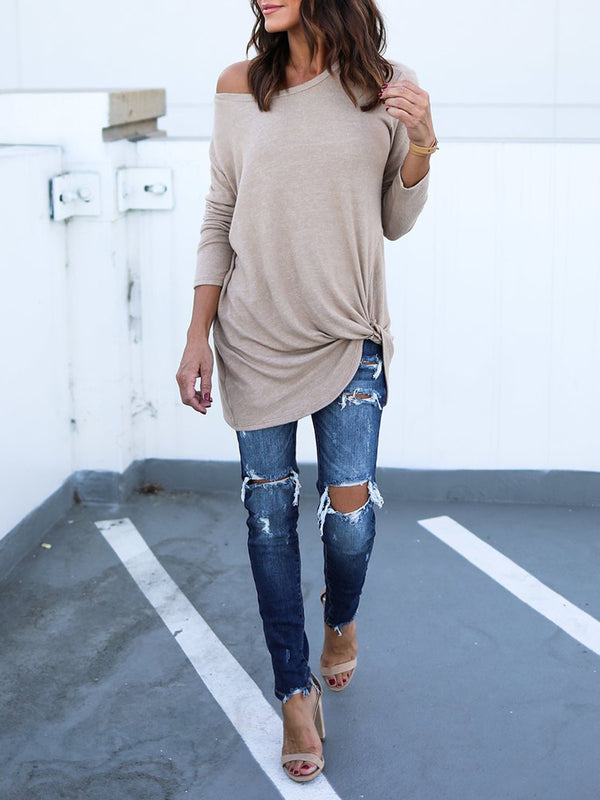 Casual Soft Long Sleeves Knot Side Twist Knit Blouse