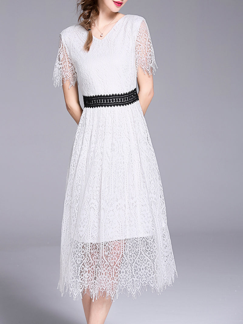 White Guipure Lace V-neck Short Sleeve Elegant Dress