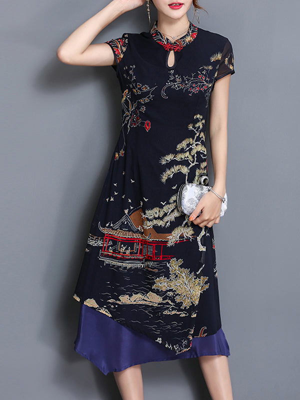 Stand Collar Elegant Graphic Printed A-line Slit Dress