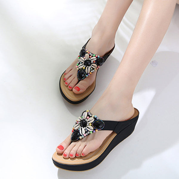 Simple Beading Flip-flops Flat Heel  Slippers