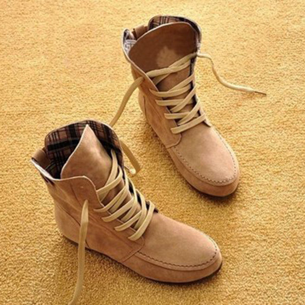 Brown Lace-up Daily Winter Boots