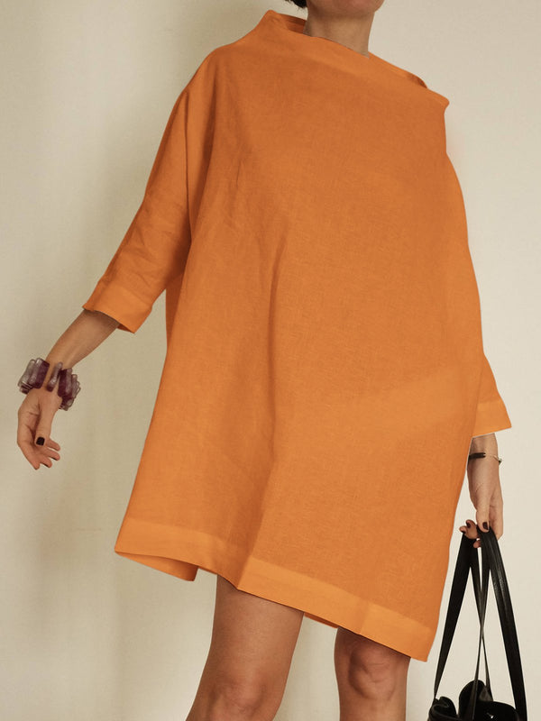 Stand Collar Women Dresses Going Out Solid Dresses