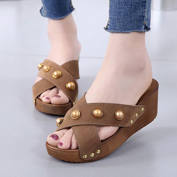 Women Slippers Rivet Wedge Heel Slippers