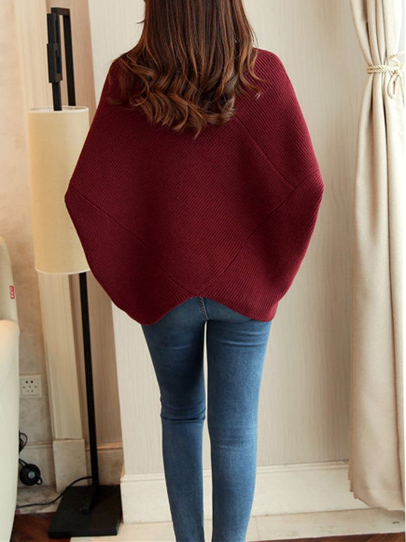 Asymmetrical Batwing Knitted Sweater