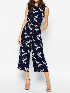 Animal Casual Printed Sleeveless Jumpsuits