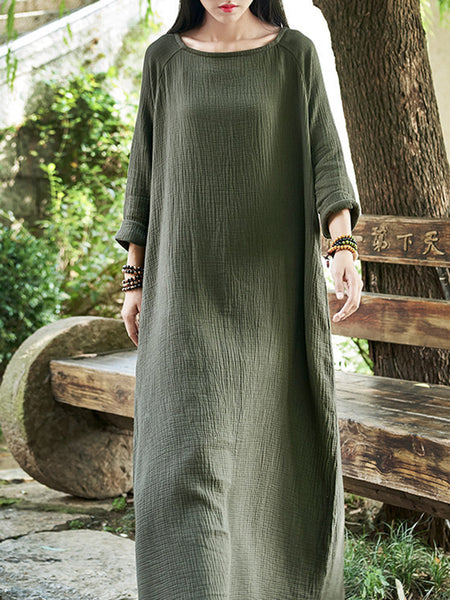 Baggy Shift Casual Cotton Linen Maxi Dress
