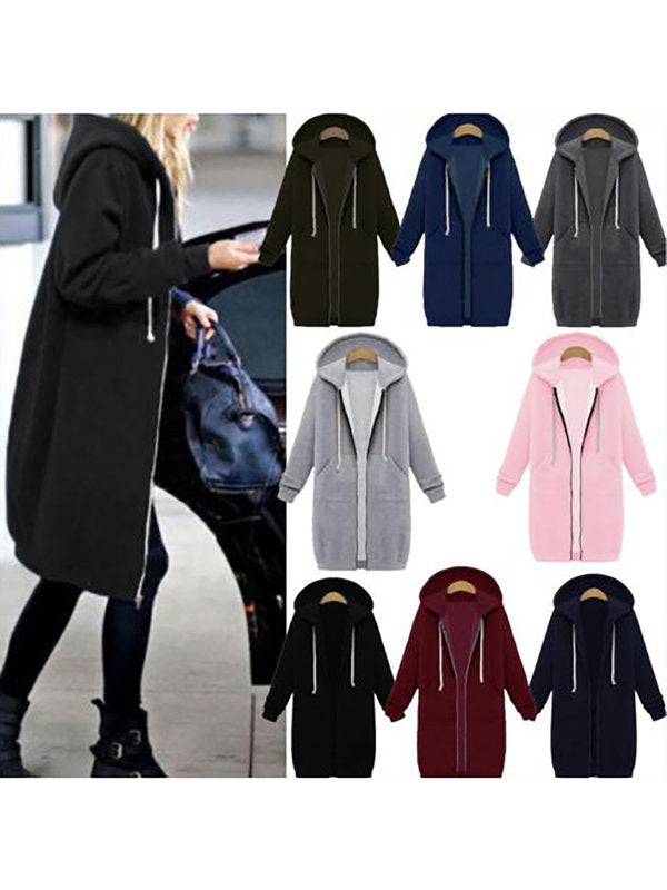 Plain Pockets Long Sleeve Plus Size Hoodie
