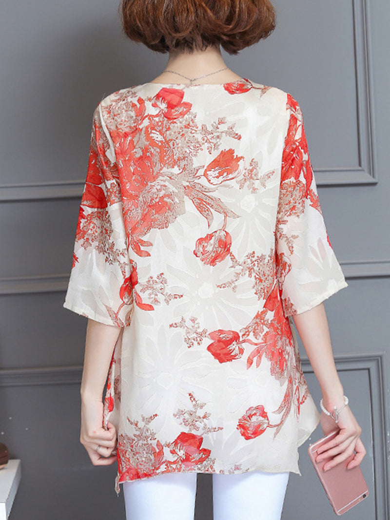 Casual Asymmetrical Floral 3/4 Sleeve Plus Size Blouse