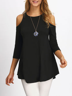 Solid Cutout Cold Shoulder 3/4 Sleeves Casual Tunic