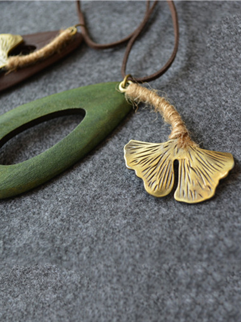 Wood Water Drop Leaf Sweater Necklace