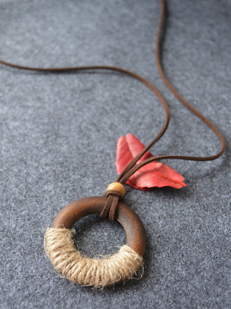 Brown Wood Basic Round Sweater Necklace