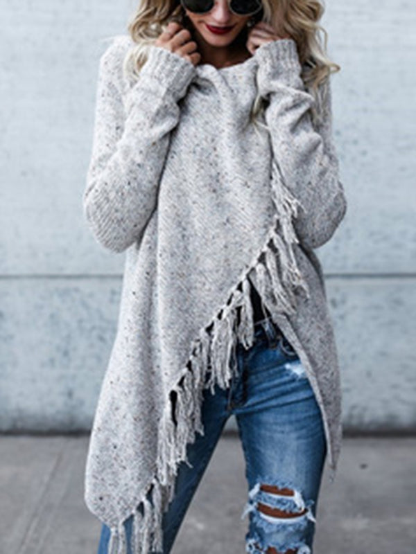 Knitted Fringed Casual Buttoned Asymmetrical Sweater
