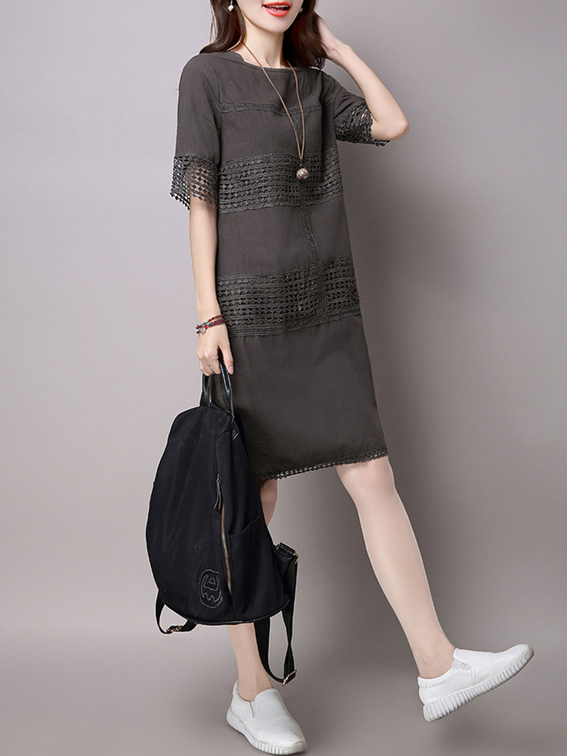 Gray A-line Short Sleeve Pierced Crew Neck Casual Dress
