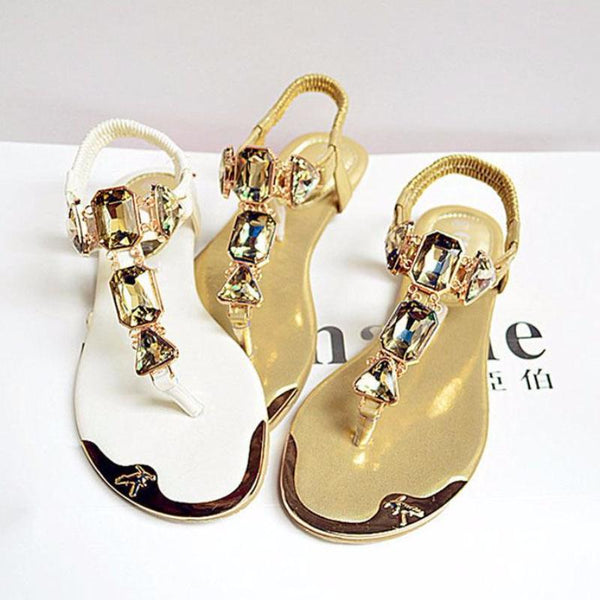 Large Size Rhinestone Chain Gladiator Women Flat Thong Sandals