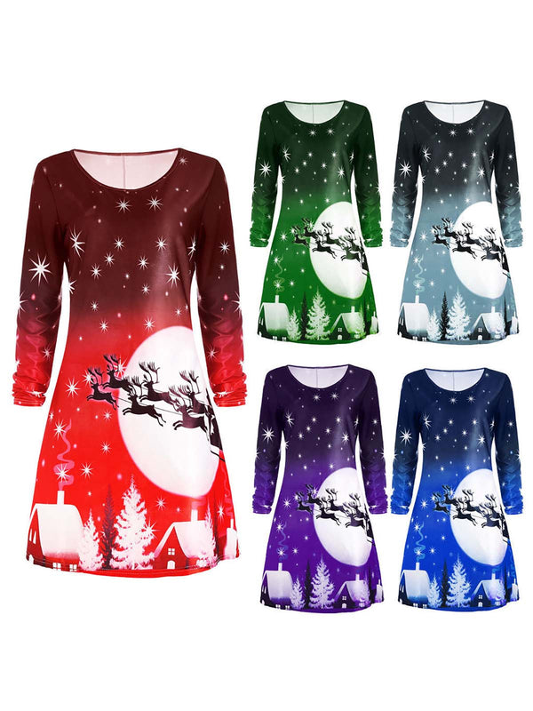 Christmas Elements Crew Neck Basic A-line Casual Dress