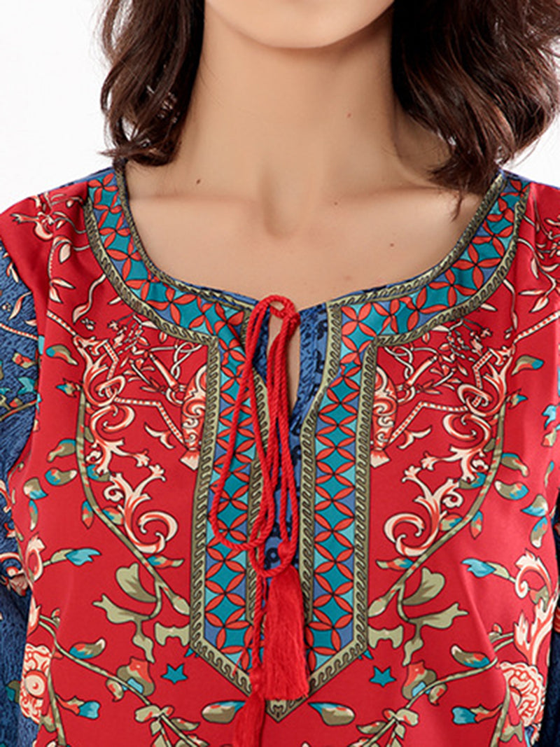 Multicolor Tribal Printed Casual Shift Midi Dress