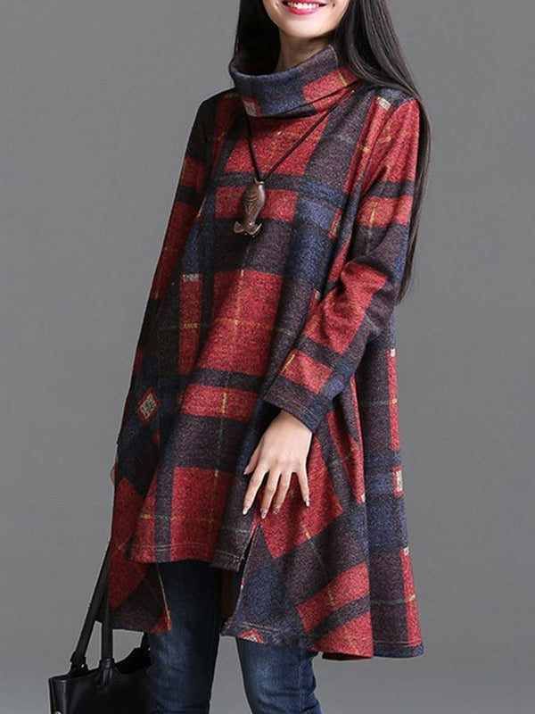 Turtleneck Casual Long Sleeve Plaid Dress