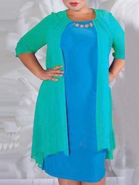 Beaded Solid Shift Elegant Plus Size Dress