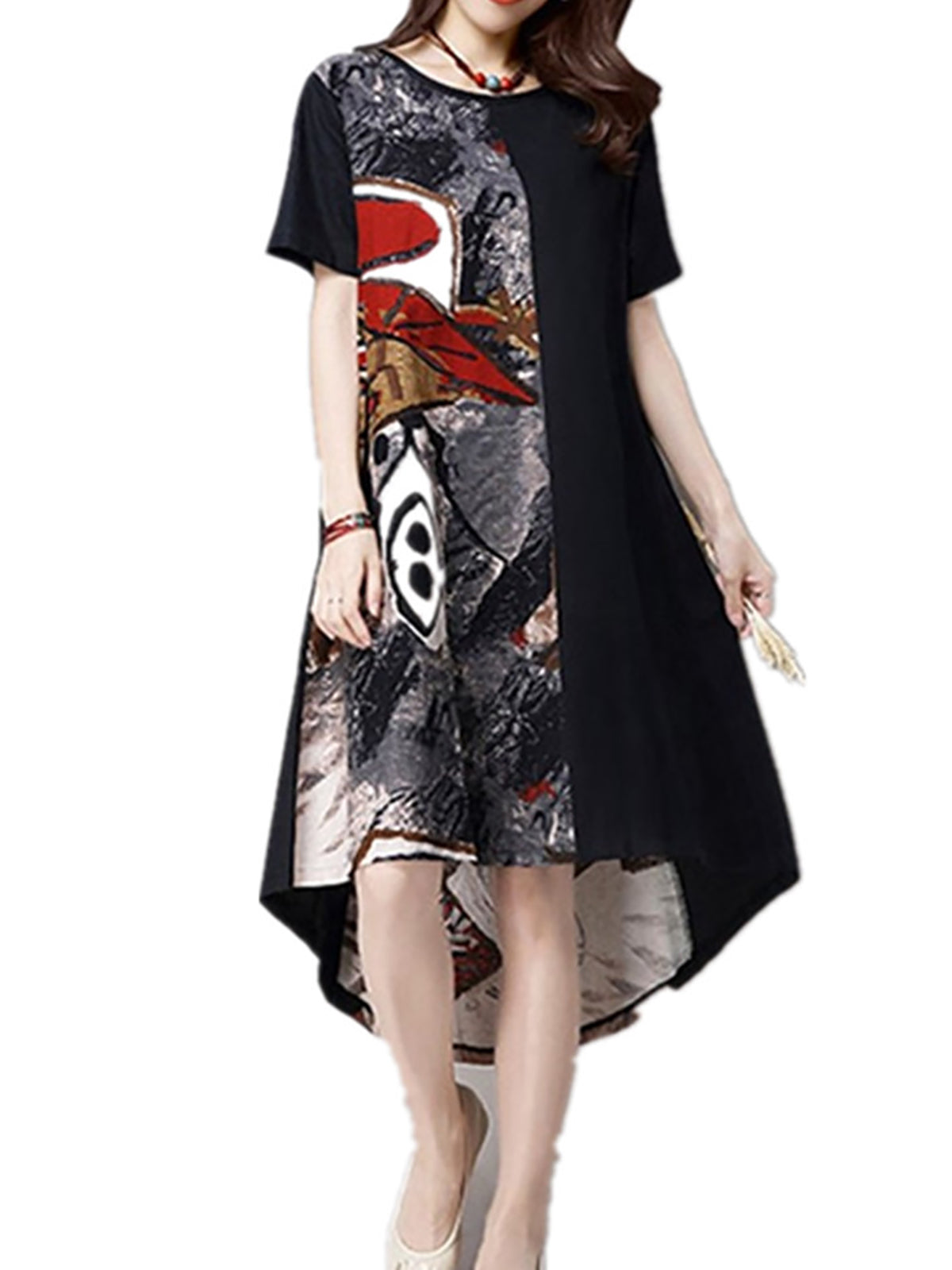 Black Crew Neck Casual Abstract Dresses