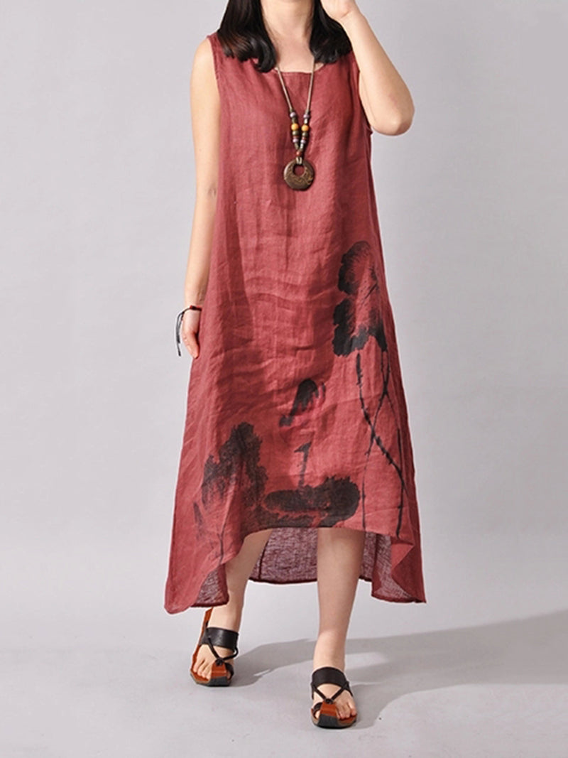 Floral-print Casual Sleeveless Asymmetrical Crew Neck Dress