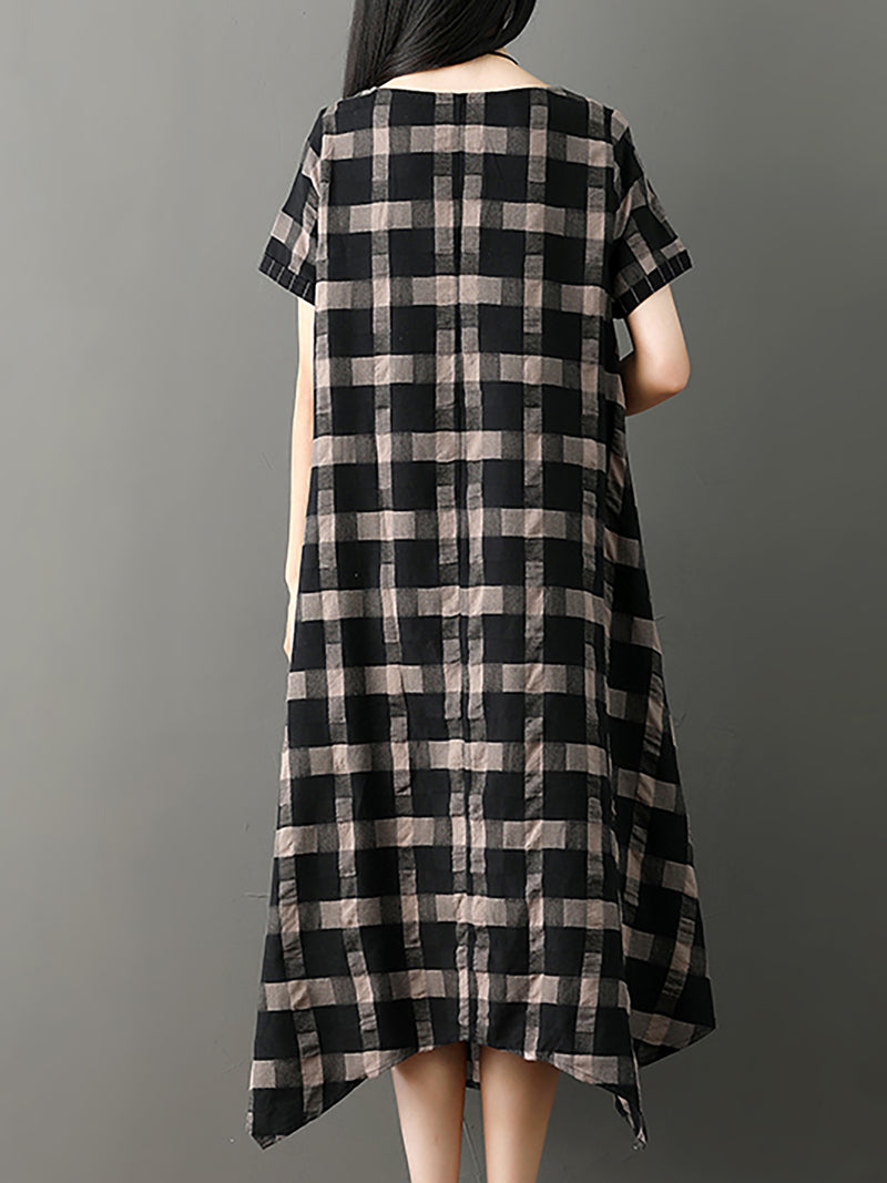Black Checkered Casual Short Sleeve Crew Neck Dress
