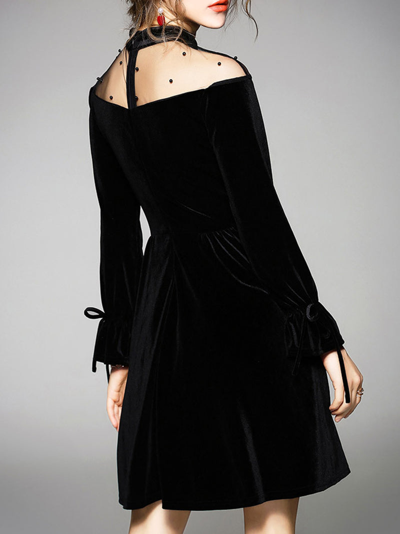 A-line Long Sleeve Stand Collar See-through Look Midi Dress